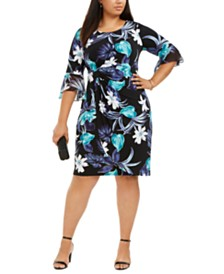Connected Plus Size Flutter-Sleeve Sheath Dress