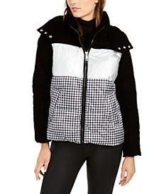 Mixed-Print Hooded Puffer Coat