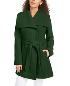 Madden Girl Juniors' Asymmetrical Belted Wrap Coat