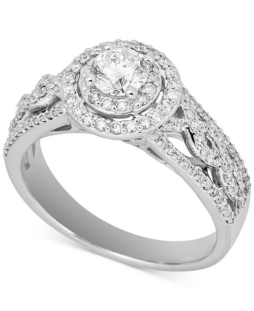 Macy's Diamond Halo Openwork Engagement Ring (1 ct. t.w.) in 14k White Gold