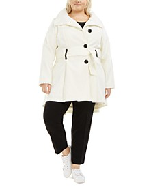 Juniors' Plus Size Skirted Belted Coat