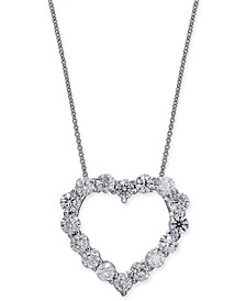 "Certified Diamond Heart Pendant Necklace (2-7/8 ct. t.w.) in 14k White Gold, 16"" + 2"" extender"
