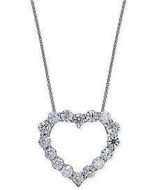 """Certified Diamond Heart Pendant Necklace (2-7/8 ct. t.w.) in 14k White Gold, 16"""" + 2"""" extender"""