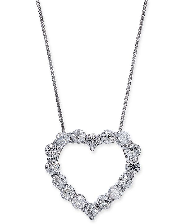 "Macy's Certified Diamond Heart Pendant Necklace (2-7/8 ct. t.w.) in 14k White Gold, 16"" + 2"" extender"