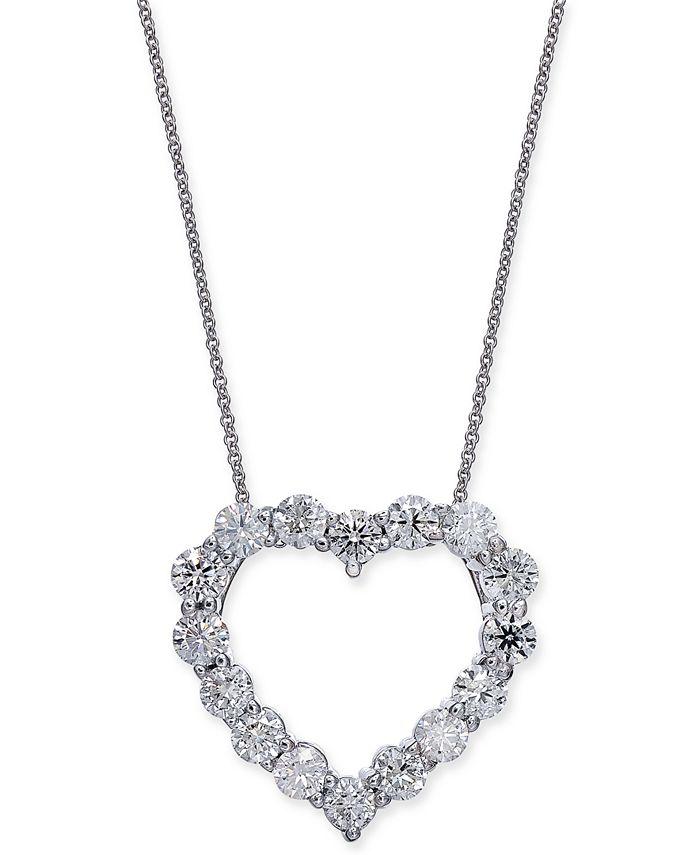 "Macy's - Certified Diamond Heart Pendant Necklace (2-7/8 ct. t.w.) in 14k White Gold, 16"" + 2"" extender"