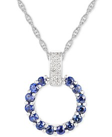 "Sapphire (1 ct. t.w.) & Diamond (1/20 ct. t.w.) Circle 18"" Pendant Necklace in 14k White Gold (Also in Emerald & Certified Ruby)"