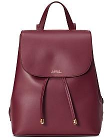 Lauren Ralph Lauren Dryden Flap Leather Backpack