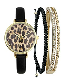 INC Women's Black Faux-Leather Strap Watch 35mm & Matching Bracelets Set, Created for Macy's