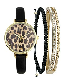I.N.C. Women's Black Faux-Leather Strap Watch 35mm & Matching Bracelets Set, Created for Macy's