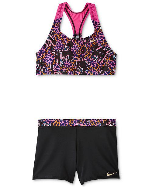 Nike Big Girls 2-Pc. Racerback Tankini & Shorts Swim Suit