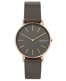 Skagen Women's Signatur Charcoal Leather Strap Watch 38mm