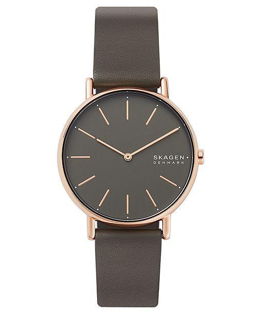 Skagen Women's Signatur Charcoal Leather Strap Watch 38mm