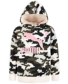Puma Big Girls Camo-Print Fleece Hoodie