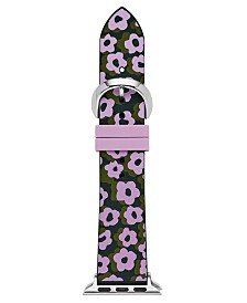 Kate Spade New York Women's Interchangeable Green & Purple Leopard Floral Silicone Apple Watch Strap 38mm/40mm