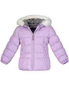 Weathertamer Toddler Girls Hooded Puffer Jacket With Faux-Fur Trim