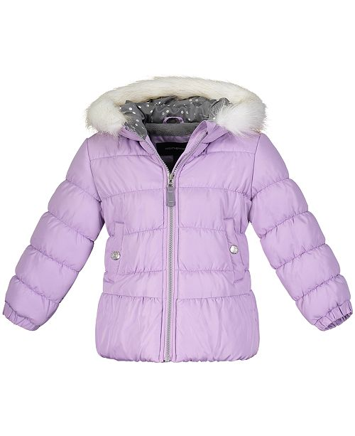 Weathertamer Toddler Girls Hooded Puffer Jacket With Faux-Fur Trim