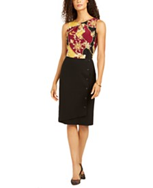 Kasper Printed Blouse & Pencil Skirt