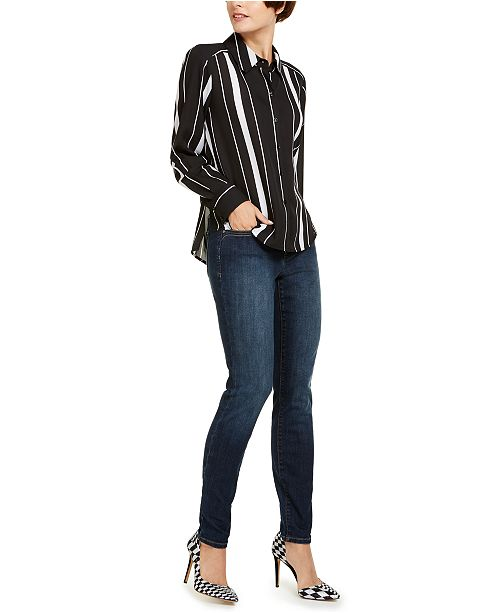 INC International Concepts I.N.C. Striped Shirt & Skinny Jeans, Created for Macy's