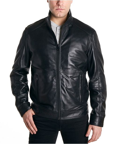 Perry Ellis Men's Moto Leather Jacket