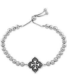 SYMBOLS OF STRENGTH Crystal Accent Celtic Cross Bolo Bracelet in Fine Silver-Plate