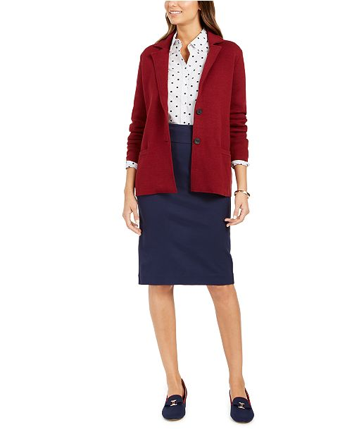 Charter Club Sweater Blazer & Ponte Skirt, Created for Macy's