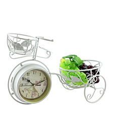 Metal Rustic Bike Table Clock and Pot Holder