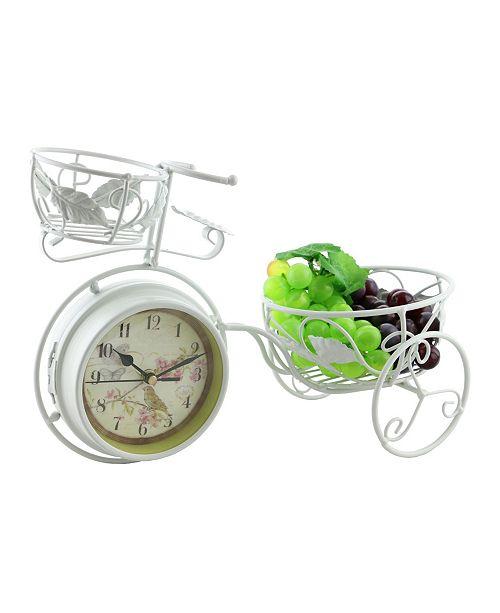 Three Star Metal Rustic Bike Table Clock and Pot Holder