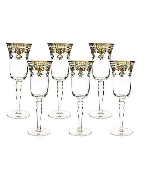 Three Star Flute Glasses with Stem 6 Piece