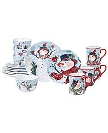 Watercolor Snowman 16pc Dinnerware Set