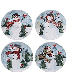Watercolor Snowman 4-Pc. Dinner Plate