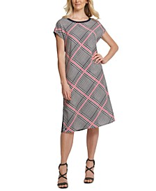 Plaid-Front Mixed-Media Dress