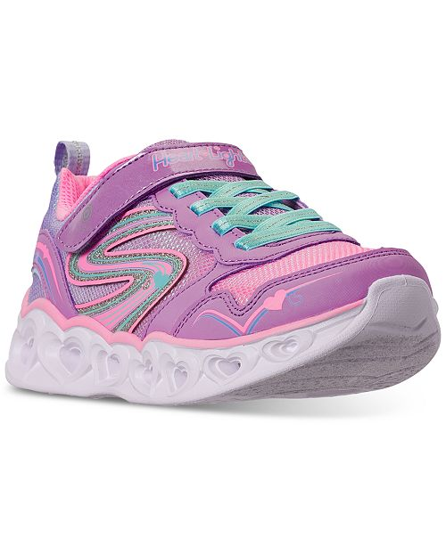 Skechers Little Girls S Lights Love Spark Stay-Put Closure Casual Athletic Sneakers from Finish Line