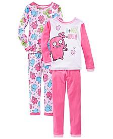 Little & Big Girls 4-Pc. Cotton Ugly Dolls Pajamas Set