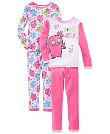 AME Little & Big Girls 4-Pc. Cotton Ugly Dolls Pajamas Set