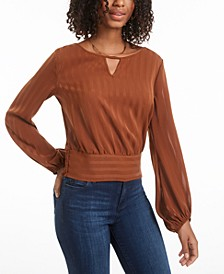 Juniors' Banded-Hem Blouse