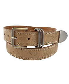 c9581c430 Fashion Focus Accessories Flower Embossed Casual Leather Belt with 3pc  Keeper