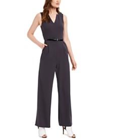 Calvin Klein Belted V-Neck Jumpsuit