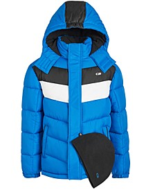 Toddler Boys 2-Pc. Colorblocked Puffer Jacket & Hat Set