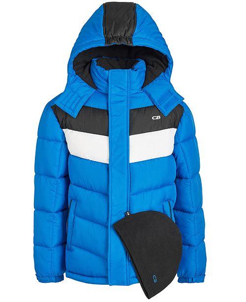 CB Sports Little Boys 2-Pc. Colorblocked Puffer Jacket & Hat Set