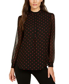 Anne Klein Dot-Print Semi-Sheer Sleeve Top