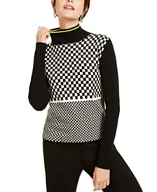 Escada Sport Checkered Turtleneck Sweater