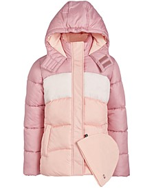 Big Girls 2-Pc. Colorblocked Puffer Jacket & Hat Set