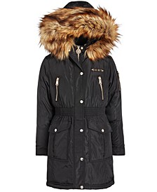 Big Girls Smocked-Waist Parka With Faux-Fur Trim