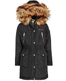 DKNY Big Girls Smocked-Waist Parka With Faux-Fur Trim