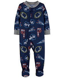 Toddler Boys 1-Pc. Sports-Print Footed Pajamas