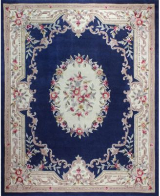 CLOSEOUT!  Palace Garden Aubusson Dark Blue 8' x 10' Area Rug