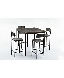 Boraam Americano Collection 5 Piece Bar Height Dining Set, Table and 4 Barstools
