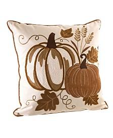 Glitzhome Cotton Embroidered Pumpkin Throw Pillow