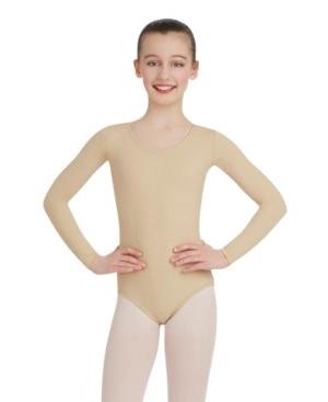 Capezio Kids' Big Girls Long Sleeve Leotard In Nude Or Na