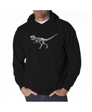 La Pop Art Men's Word Art Hooded Sweatshirt - Dinosaur T-Rex Skeleton